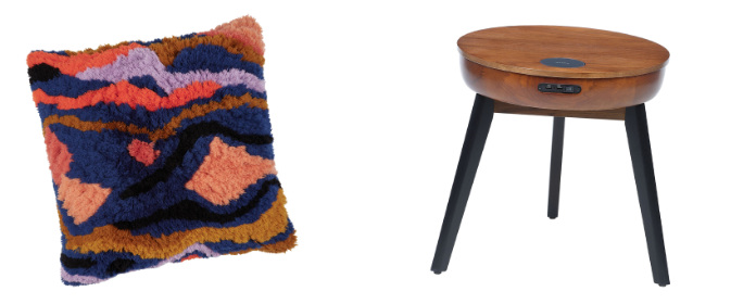 Kiki Multi-Coloured Moroccan Tufted Cushion, £65, Habitat; San Francisco Round Walnut Lamp Table with Q! Wireless Charger, USB Ports, 2.1 Bluetooth Speakers, £249 (was £374), Wooden Furniture Store