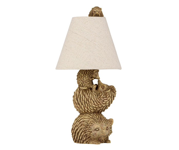 Forest Dawn Hedgehog Family Table Lamp