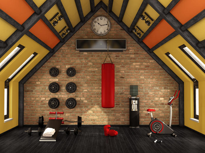 Make use of wall space when building a home gym