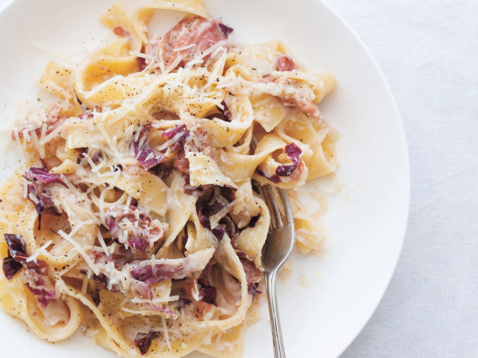 Pappardelle with Cream, Radicchio and Prosciutto by Claire Thompson