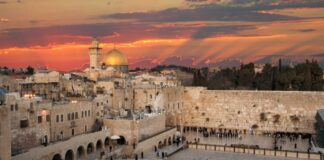 Western Wall at the Dome Of The Rock on the Temple Mount in Jerusalem, Israel