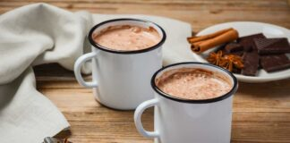 What to do with leftover chocolate – Hot chocolate on rustic wooden table