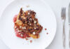 Pork Chops with Rhubarb, Honey, Ginger and Hazelnuts by Claire Thompson
