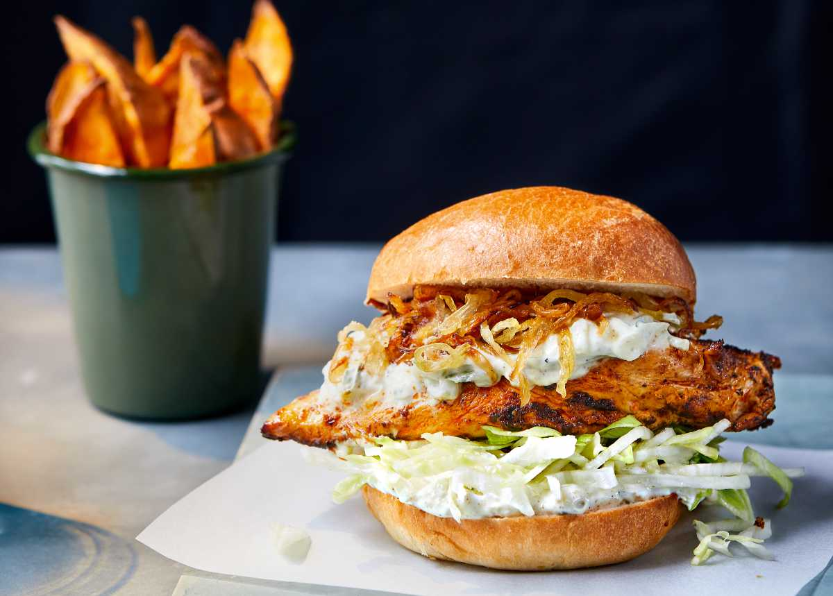 Tandoori Chicken Burger With Sweet Potato Wedges Wise Living
