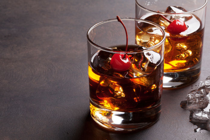 Manhattan cocktail with whiskey.