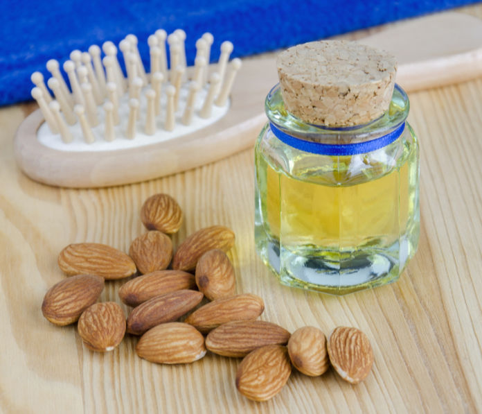 Small bottle of almond oil