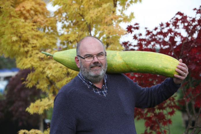 David Thomas and his giant cucumber