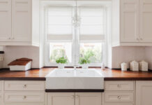 Kitchen makeover Picture of elegant kitchen furniture with solid wooden worktops