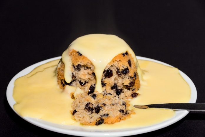 Spotted dick with custard