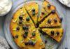 Blueberry, orange and polenta cake