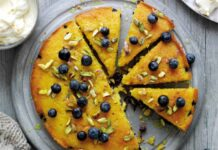 Blueberry, orange and polenta cake