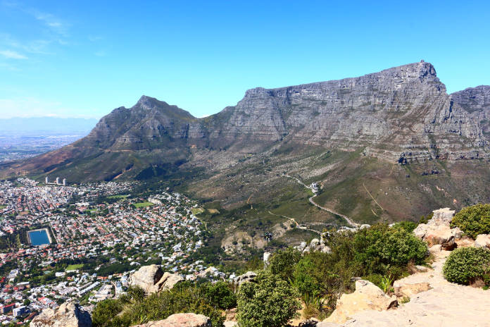 able Mountain National Park on the right and Cape Town