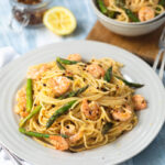 British Asparagus & Garlic Prawn Spaghetti