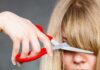 Hair mistakes – Woman cutting her fringe