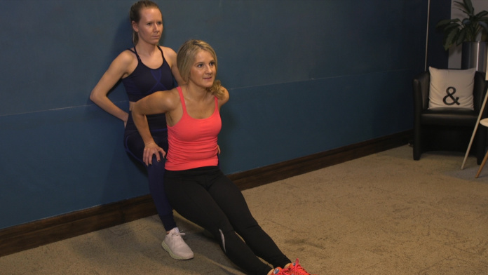 Dip and wall slide exercise