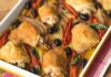 Shallot, sundried tomato, olive and chicken traybake