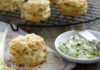 Cheese, celery and walnut scones served with parsley butter