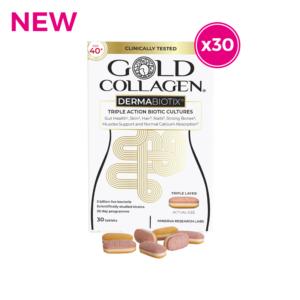 GOLD COLLAGEN® DERMABIOTIX (age 40+) 30 PROBIOTIC Tablets - healthy GUT, SKIN, HAIR, NAILS & MENTAL PERFORMANCE