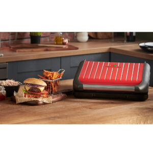 George Foreman 25050 Entertaining 7 Portion 1850W Steel Grill - Red