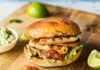 Shallot Sweet potato and halloumi burger