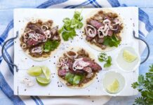Steak, Shallot & Black Bean Tostadas