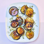 Aubergine and goat's cheese burger stacks with honey and thyme recipe
