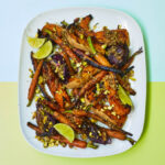 Squash with charred carrots, red onions, coriander seeds, pistachios and lime recipe