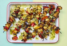 Crispy gnocchi with charred peppers and basil pesto