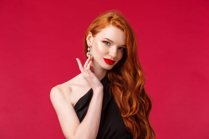 Red lipstick on red haired woman