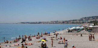 The beach front on the Promenade des Anglais, Nice, France.
