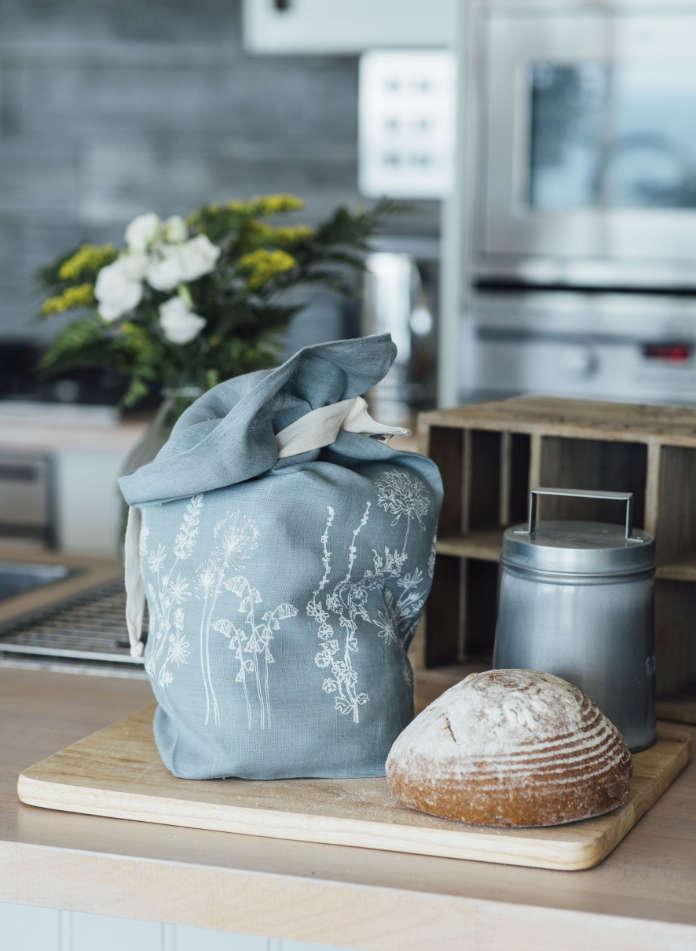 Breathable Linen Bread Bag Garden Design in Duck Egg Blue