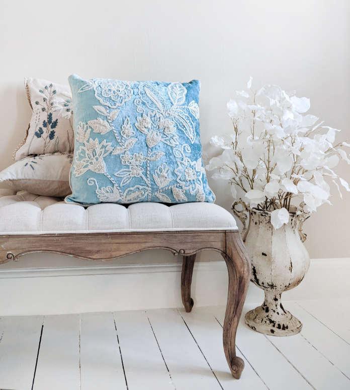 Tudor Blue Embroidered Velvet Cushion