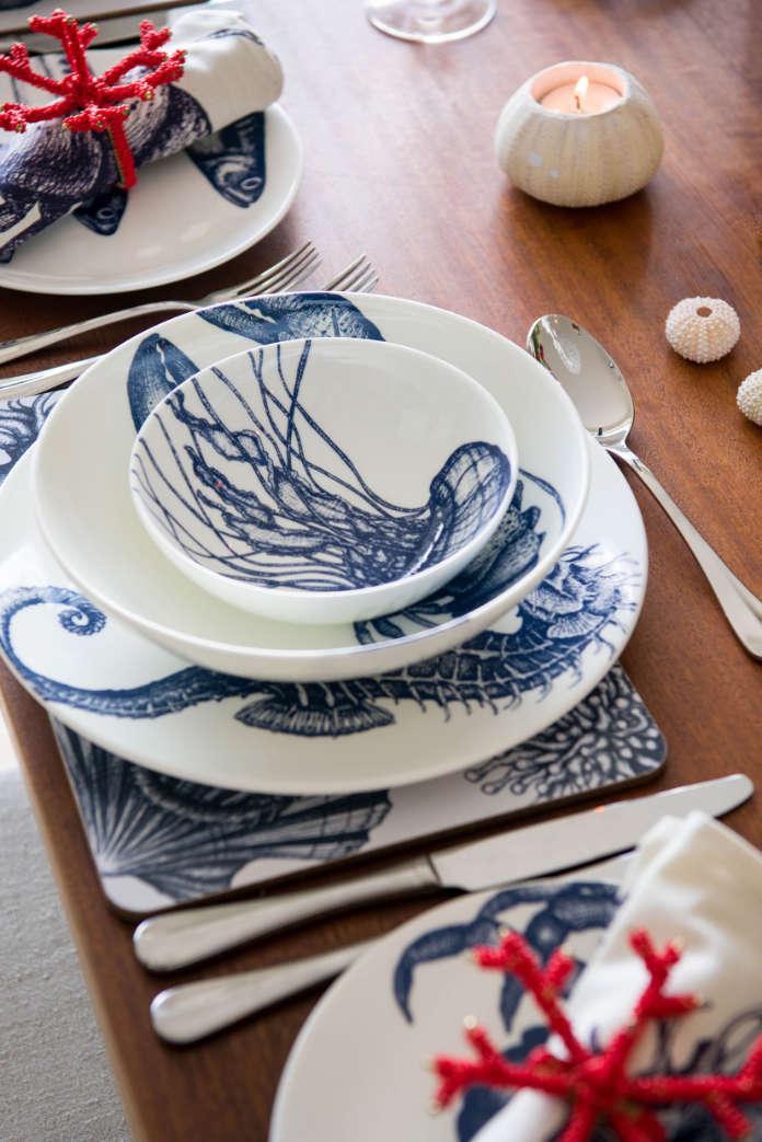 Bone China Seahorse Dinner Plate, £24; Lobster Pasta Bowl, £24; Set of Four Reef Napkin Rings, £25
