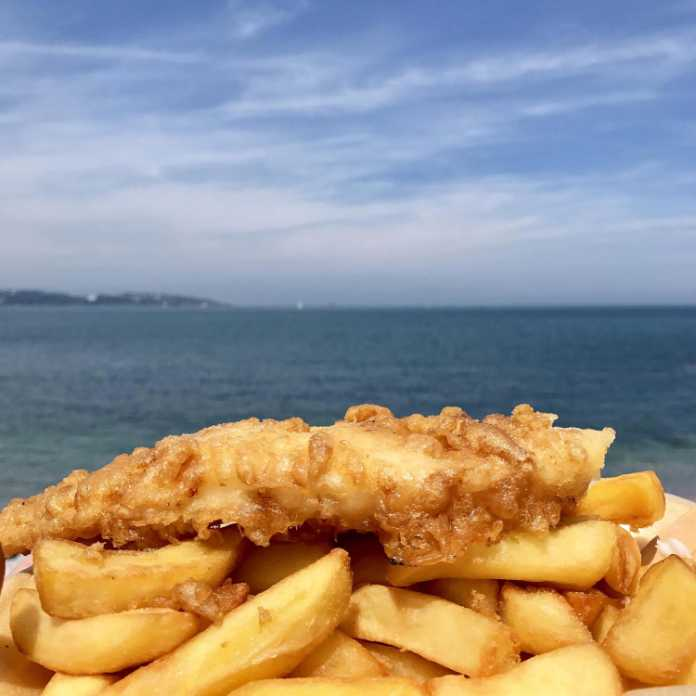 Fish and chips at seaside