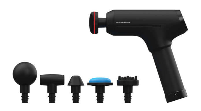 The HoMedics Pro Physio Massage gun with all its accessories