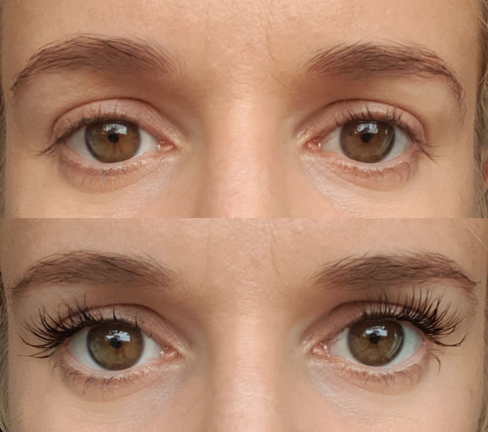 Photo of before and after applying Lashify lashes.