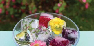 A bowl of floral ice cubes