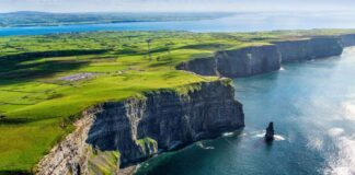 Aerial cliffs of Moher Clare Ireland