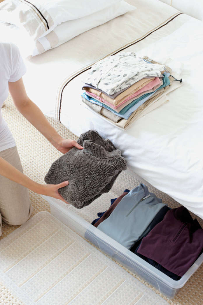 Under-the-bed storage, an example of small, example of small bedroom ideas