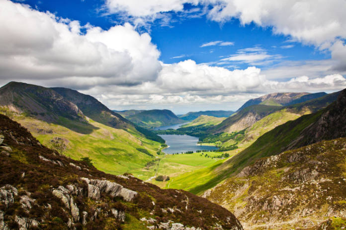 A grandview of Lake District, suffering from footpath erosion