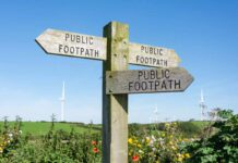 A signpost for public footpaths, causing erosion