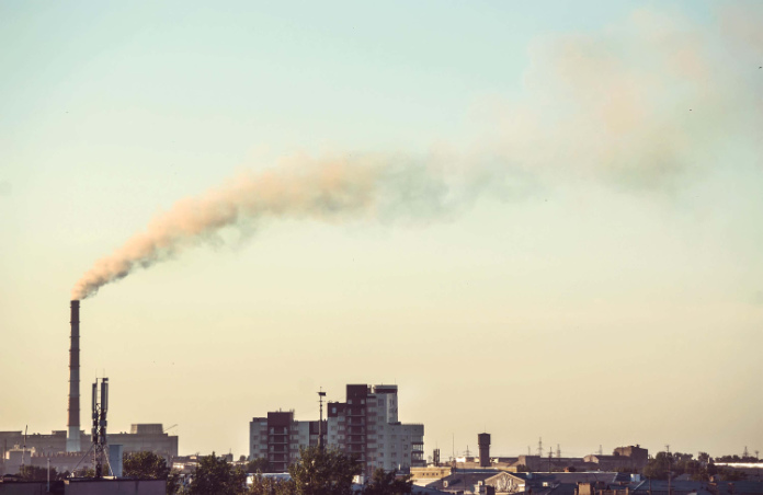 A factory producing large amounts of pollution