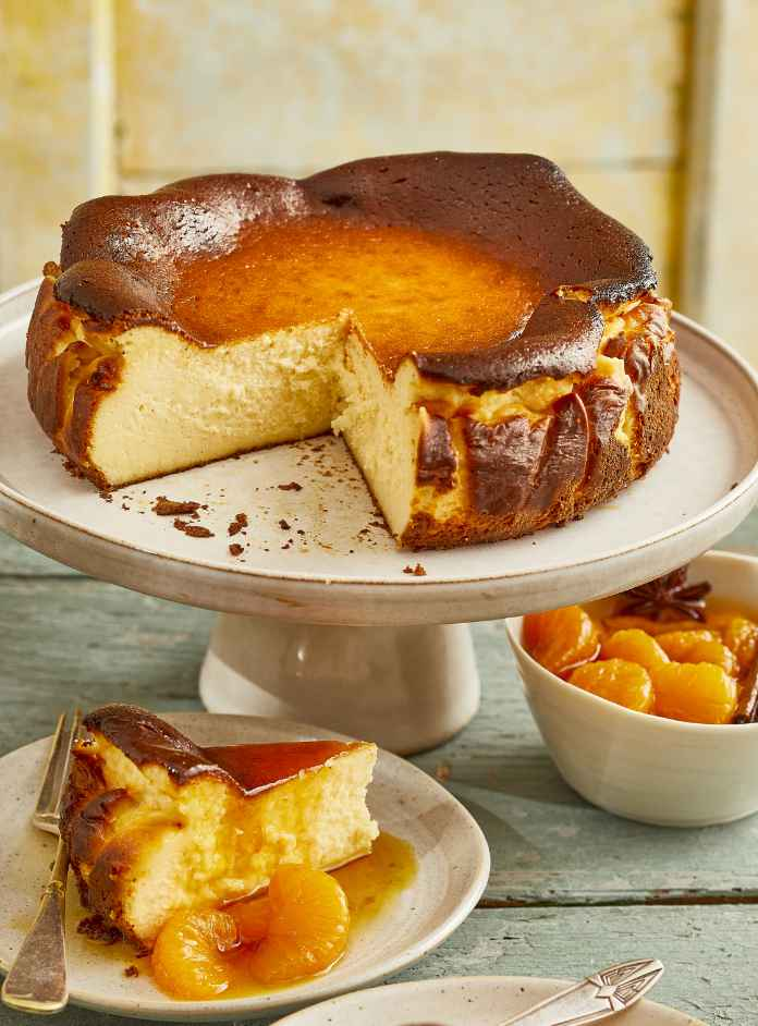 Basque-style cheesecake with spieced mandarins