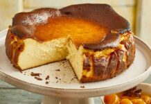 Basque-style cheesecake with spiced mandarins