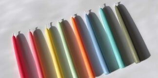 Instagram candles-Fairholme Studio Bright Rainbow Taper Candles Set of Eight