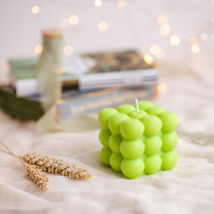 Instagram candles- OutofLineHome Bubble 100% Soy/Vegan Decorative Pillar Candle Green