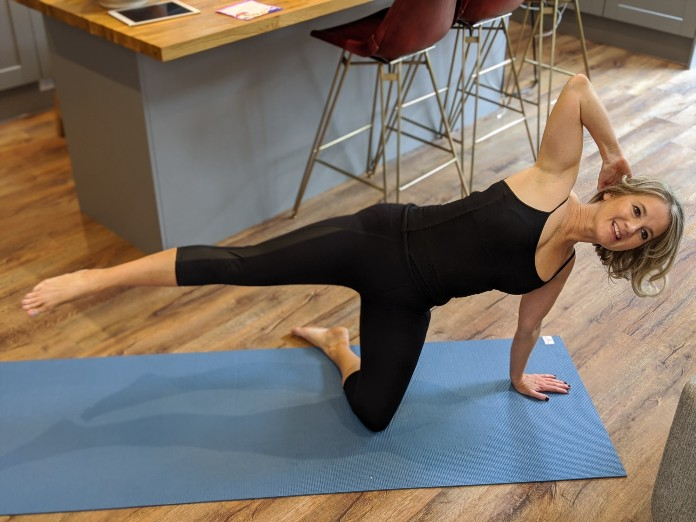 Side-kicks and other Pilates moves are great for getting fit at home The shoulder bridge is a great Pilates exercise for beginners (Claire Spreadbury/PA)