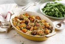 UK Shallots with Squash and Crispy Rosemary and Olive Oil Breadcrumb topping
