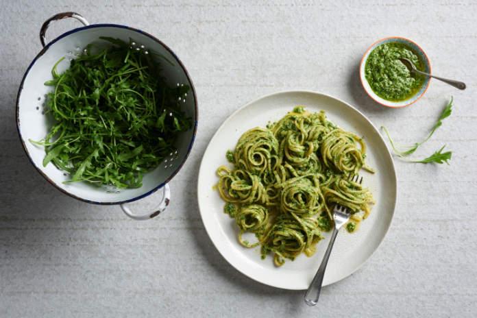 Pasta is delicious with rocket pesto.