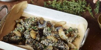 Sesame-crusted feta with black lime honey syrup